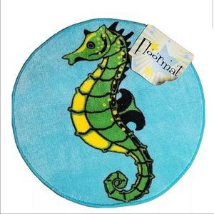 Seahorse Bath Matt Rug Non Slip Bottom Fish blue